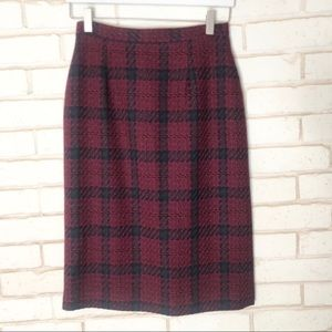 JC Collectibles Wool Red and Green Plaid Skirt Sz6